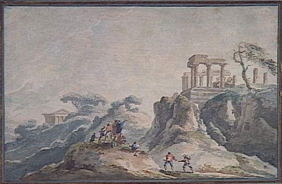 Vue des ruines du temple de Junon à Agrigente Chatelet Claude-Louis (1753-1794)