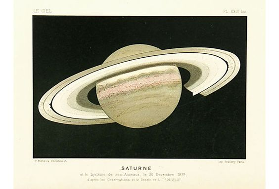 """Saturn, 1877 French color stone lithograph of Saturn by Guillemin, 1877. Displayed on a white mat with a gold border and fits a standard-size frame. Archival plastic sleeve and Certificate of Authenticity included. Artwork, 10.5""""L x 7""""H; mat, 14""""L x 11""""H."""