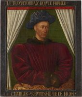 Jean FOUQUET Tours, c. 1415-20 – Tours, between 1478 and 1481  Charles VII (1403–1461), King of France c. 1445 or c. 1450 H. 0.85 m; W. 0.70 m  Richelieu 2nd Floor Jean Fouquet Room 6