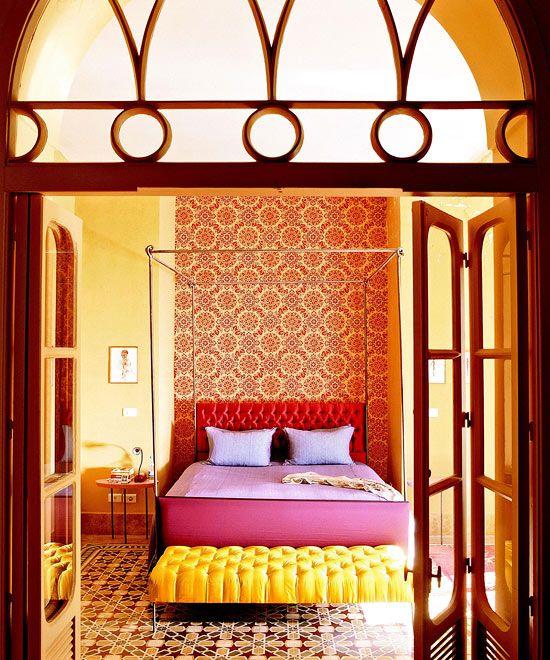 Bedroom: Old-Style Floor Tiles, Wallpaper, Headboard, Millwork, Color