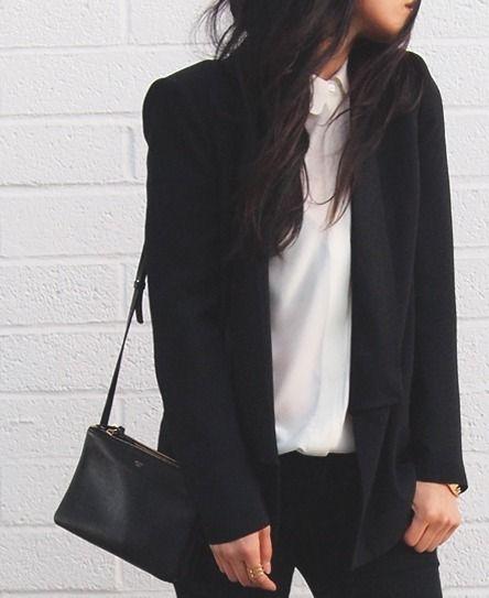 Chic Style - white blouse, black blazer & Celine bag