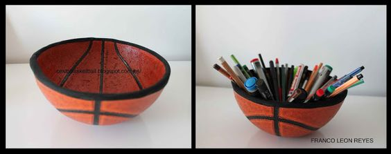 Recycled Basketball : Do this with a football for baby boy storage.