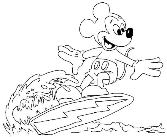 Mickey Mouse Surfing On The Wave Coloring Page Color Luna