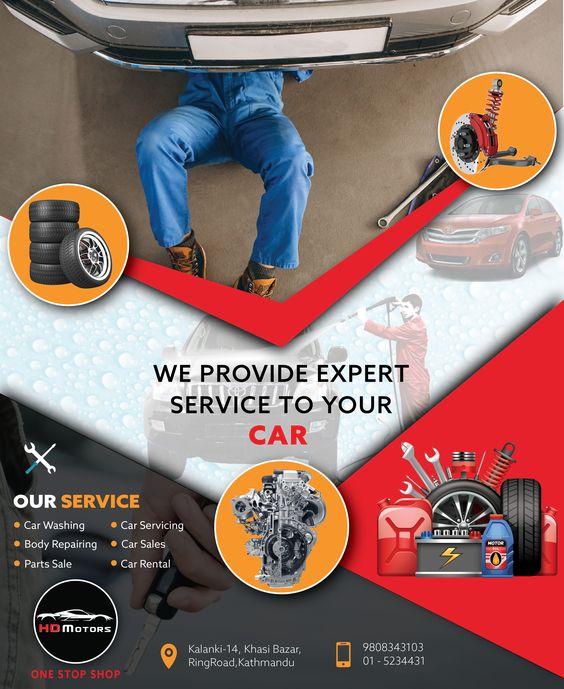 Auto repair ads flyer example.