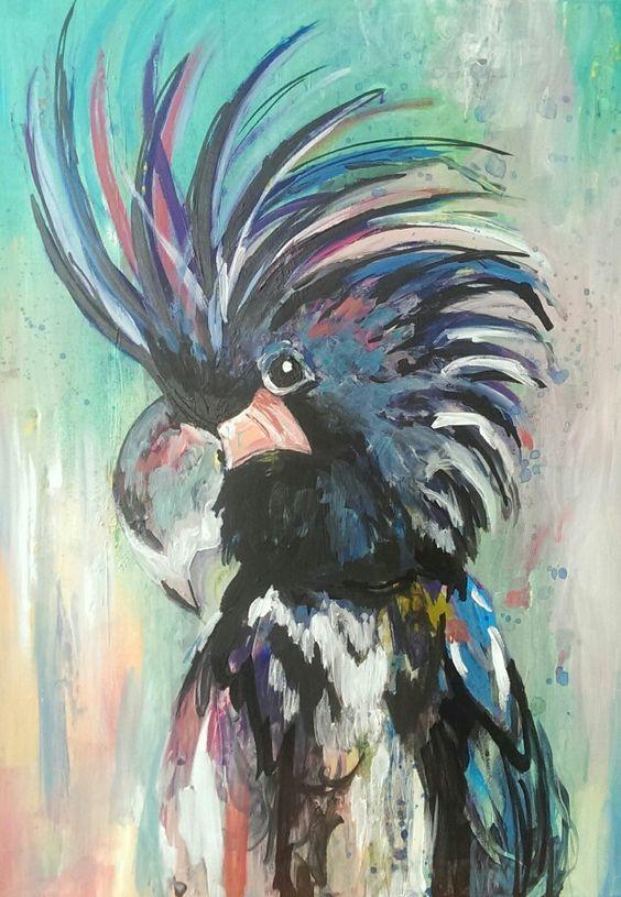 "#Acryl ""verrückter Vogel"" Melanie Geis"