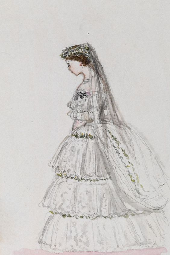 A watercolour made by Queen Victoria showing her daughter Victoria, Princess Royal on her wedding day