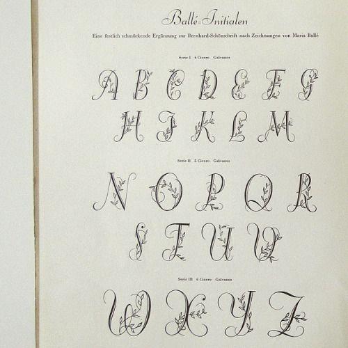 Ballé Initials by Maria Ballé for Bauer Types, 1940 #initials #typespecimen