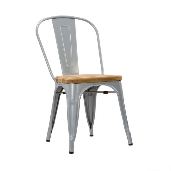 Bistro Dining Chair in Wood Steel Set of 2 – Bistro Dining Chair