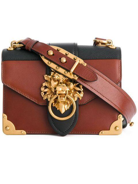 a0c2427db0f9 Shop Prada Cahier lion-embellished shoulder bag