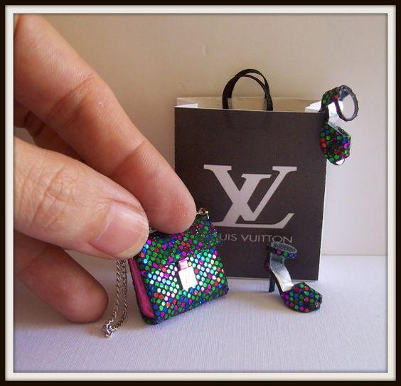 Bag and shoes dollhouse miniature 112 scale 3 Pcs by DesignBA, $45.00