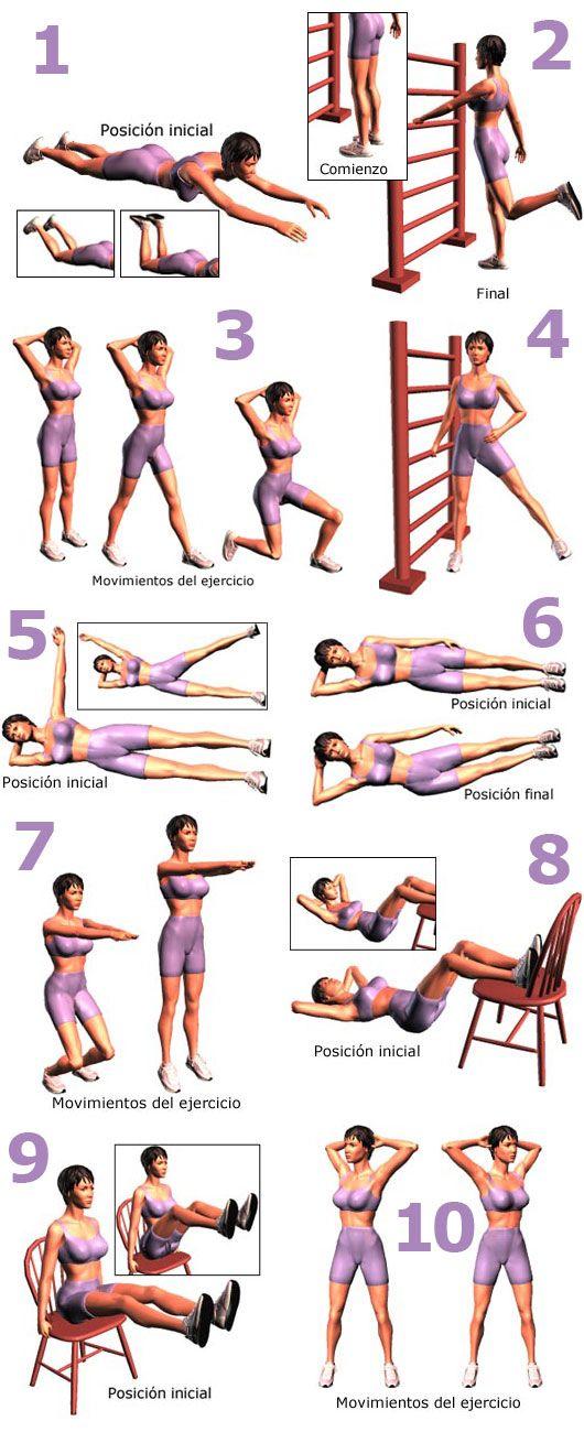 Hay que hacer cada ejercicio de ♦4 series de ♦10 repeticiones para que funcione y recuerden no es magia hay que comer más saludable y ser constantes.