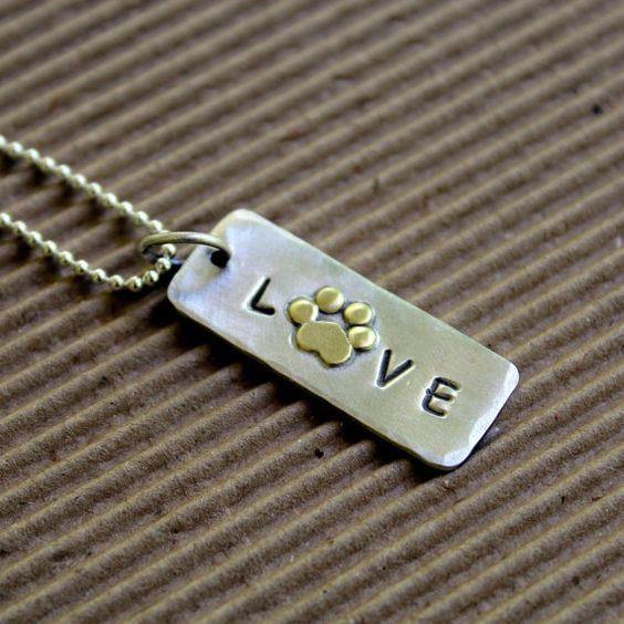 Love My Pet  Necklace in sterling silver and NuGold by DoggoneTags, $45.00