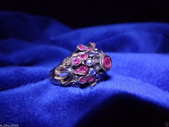 ROSE GOLD THAILAND PRINCESS RING RUBY & BLUE SAPPHIRE JEWELRY PRONG SET STONES