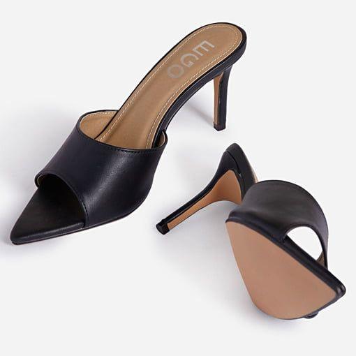 Maelle Pointed Peep Toe Kitten Heel Mule In Black Faux Leather Ego In 2020 Heeled Mules Black Faux Leather Heels
