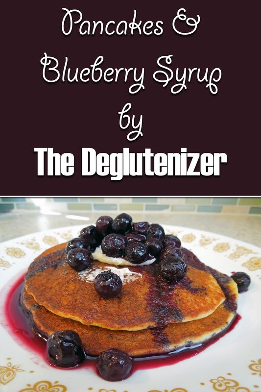 Gluten-free pancakes with homemade blueberry syrup! Check out this recipe and more on my blog! http://thedeglutenizer.weebly.com/blog/pancakes-blueberry-syrup