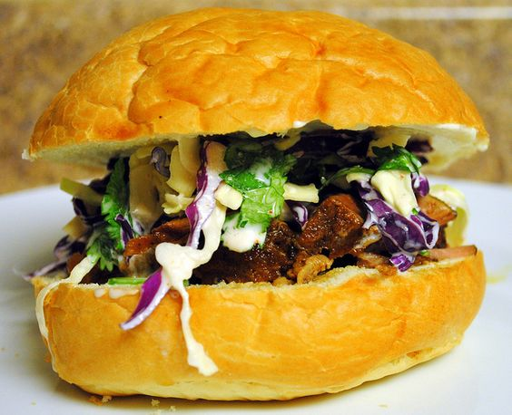 Pork Sandwiches with Cilantro-Jalapeno Slaw