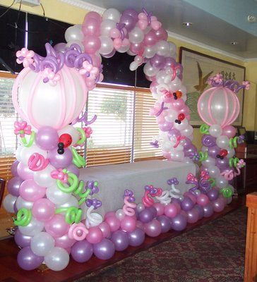 Baby girl first birthday themes balloons for little for Baby birthday decoration photos