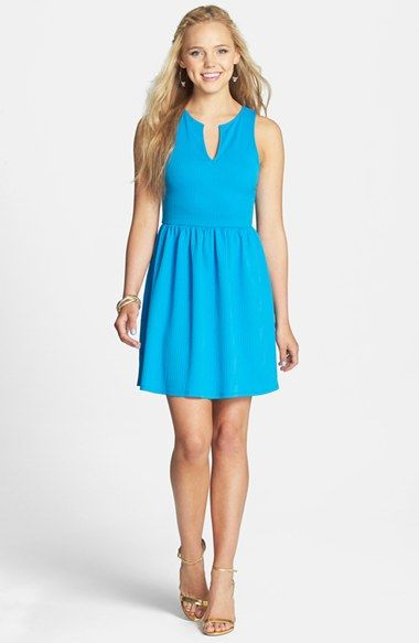 EVERLY Textured Skater Dress (Juniors) available at #Nordstrom