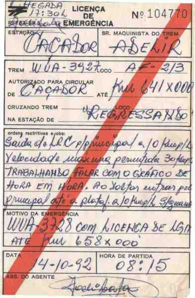 Museu Ferroviário Virtual - Antiga licença de emergência da extinta RFFSA (1992)
