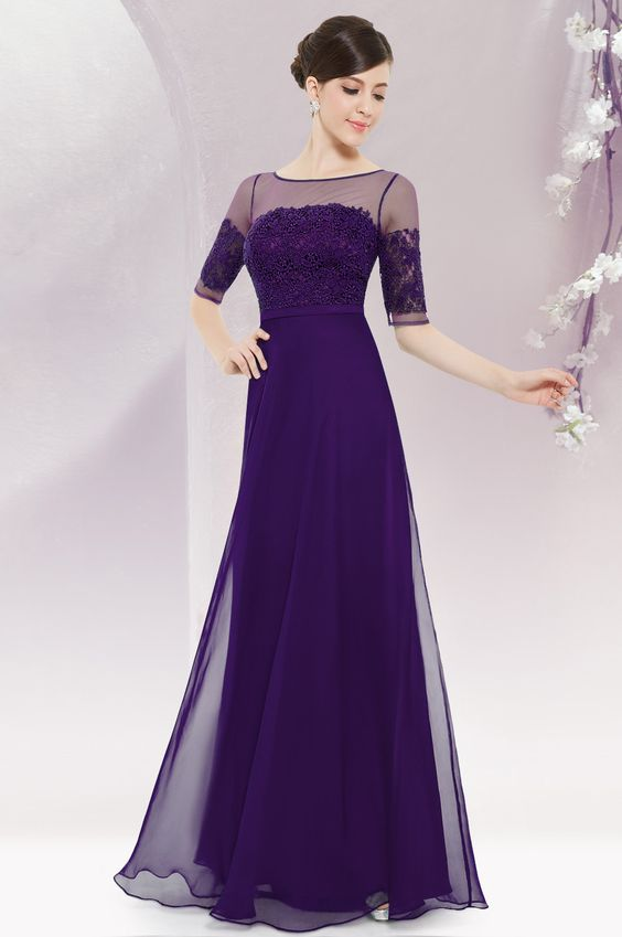 Elegant purple half sleeves maxi dress party dress for Purple maxi dresses for weddings