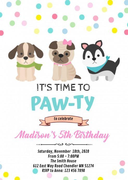 Dog Puppy Pet Birthday Invitation Dog Birthday Invitations Puppy Birthday Invitations Dog Birthday Party Invitations