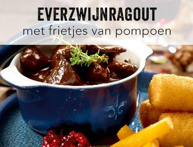 Everzwijnragout met kroketten en frietjes van pompoen