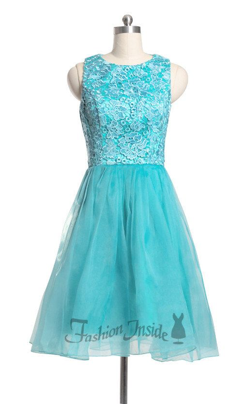 Blue Lace Short Bridesmaid Dresses Vintage Lace by Fashioninside ...