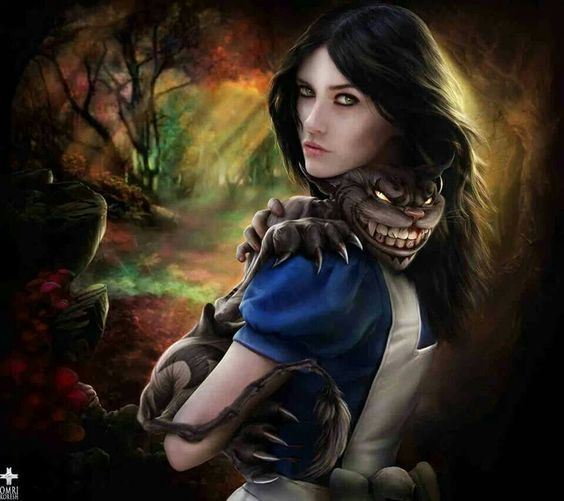 Alice in Wonderland and evil cat
