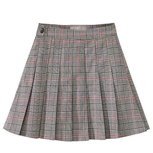 Damen Schulmädchen Plisseerock Frauen hohe Taille Rock kurze Plaid Rock Kleid DE