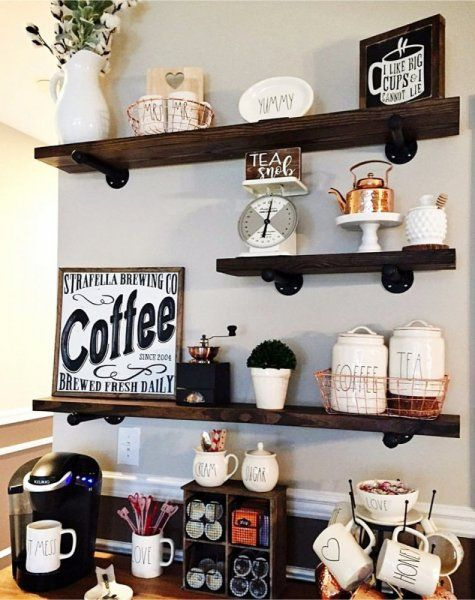 The Shelves Are Perfect For Arranging Decorative Coffee Tools Coffee Bar Home Coffee Kitchen Rustic Floating Shelves