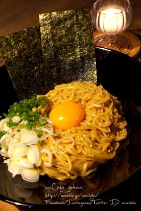 OIL SOBA FROM INSTANT RAMEN, インスタントラーメンで激ウマ本格油そば♡  (soy instant ramen)