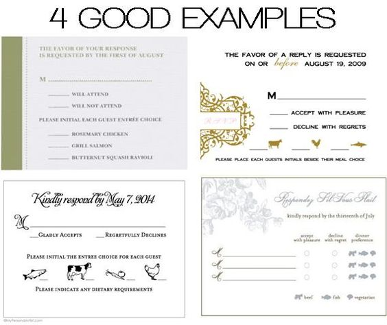 DOs DONTs Place Cards Meal Choices – Examples of Rsvp Cards for Weddings