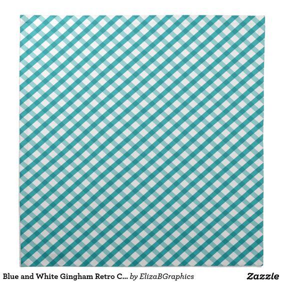 Blue and White Gingham Retro Cloth Napkins  #napkin #napkins #dining #lobester