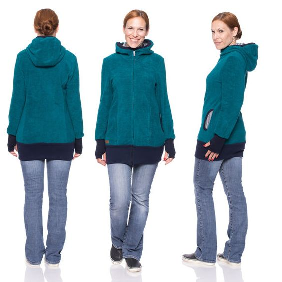 Viva la Mama | Baby Carrying Jacket FJONN (3in1- petrol blue, soft cotton fleece). Hoody for pregnancy, maternity, baby wearing and everyday use. The baby will be save and warm in this beautiful baby wearing jacket. A perfect present for birth or baby shower.