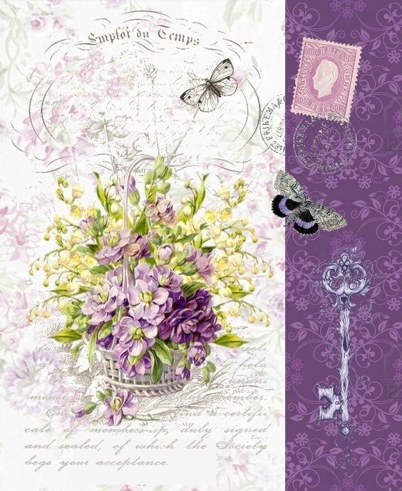Bouquet of lavender flowers in white basket with key, butterflies, stamp on French ad.: