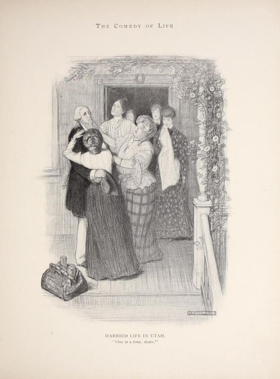 "In this 1906 Life Magazine illustration, Bayard Jones depicts a Mormon patriarch being greeted by several wives on his return from a trip. The Mormon practice of plural marriages prompted federal legislation that forbade entry of ""polygamous"" immigrants. Young women from European countries with a Mormon mission presence were sometimes given extra scrutiny at Ellis Island. This illustration comes from ""The Comedy of Life,"" available at the Internet Archives."