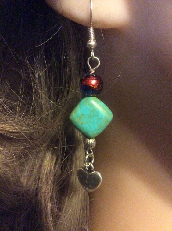 "Handmade Diamond heart drop dangle earrings, torquise,glass, metal beads, 2-3/4"""