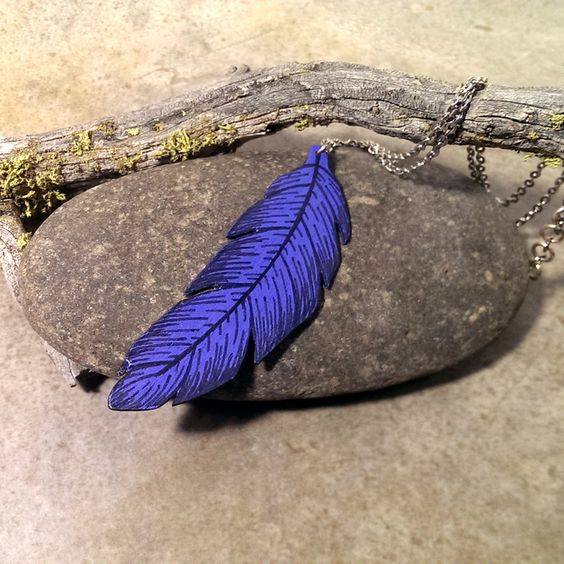 Indigo blue feather necklace painted wood jewelry by CrowsdanceDesigns, $35.00 USD