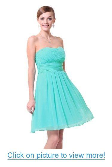 Ever Pretty Strapless Ruffles Empire Waist Chiffon Padded Prom Dress 03541