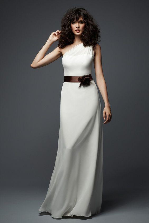WTOO 781 Dress Crinkle Chiffon One-Shoulder A-line Floral Belt