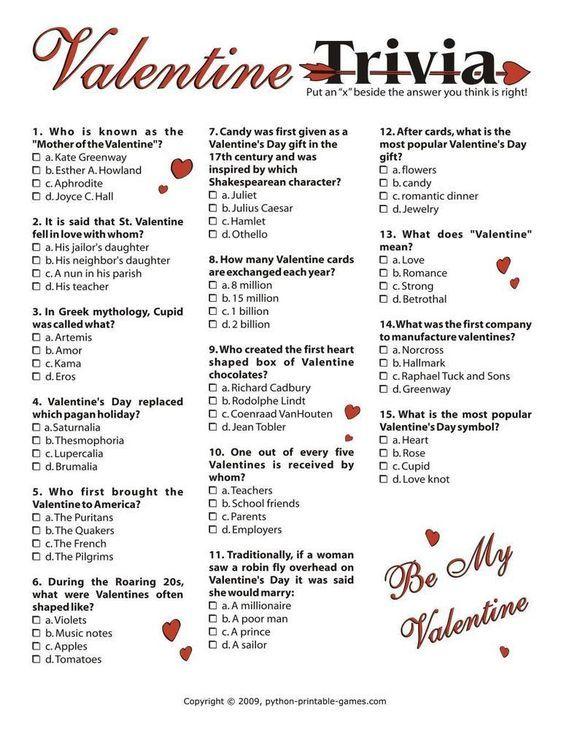 Valentine S Day Trivia I 3 95 Valentines Day Words Valentines Day Trivia Valentine Party Game