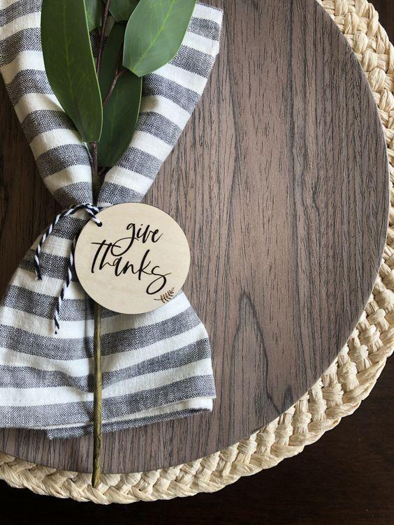 Thanksgiving Decor, Place Setting, Dining Room Decor, Table Setting, Give Thanks, Modern Decor, Modern Farmhouse, Napkin Ring, Wedding Gift