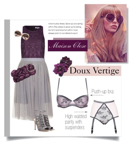 """Maison Close - Doux Vertige"" by blueberrylexie ❤ liked on Polyvore featuring Maison Close, True Decadence, Gianvito Rossi, JNB, Ray-Ban, lingerie and maisonclose"