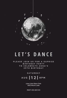 Disco Ball Party Invitation Dance Party Invitations Party Invite Template Party Invitations Printable