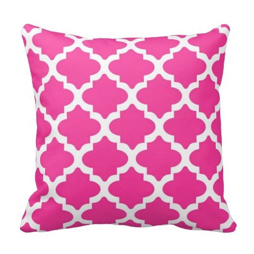 Cute Throw Pillows Pinterest : Hot Pink And White Quatrefoil Throw Pillow DesignQ Pinterest Cute pillows, Quatrefoil ...