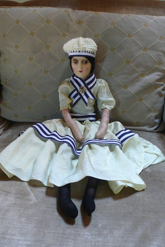 Antique boudoir bed doll Anita style by LadyRegretto on Etsy