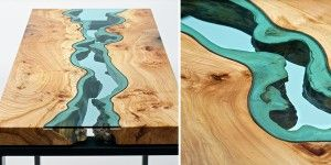 Fiumi e laghi di vetro scorrono sugli splendidi tavoli di Greg Klassen