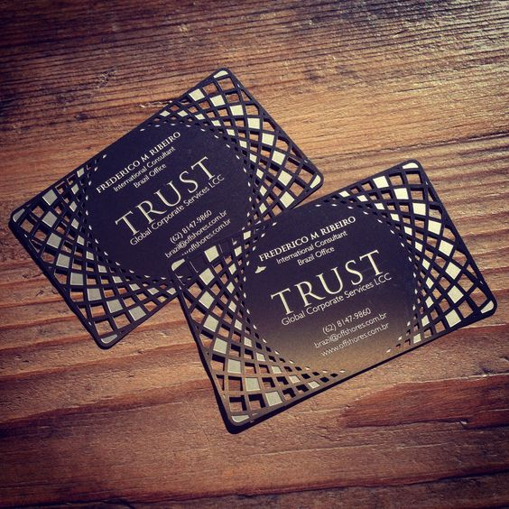 Stainless steel business card, designed and crafted for Trust of Brazil