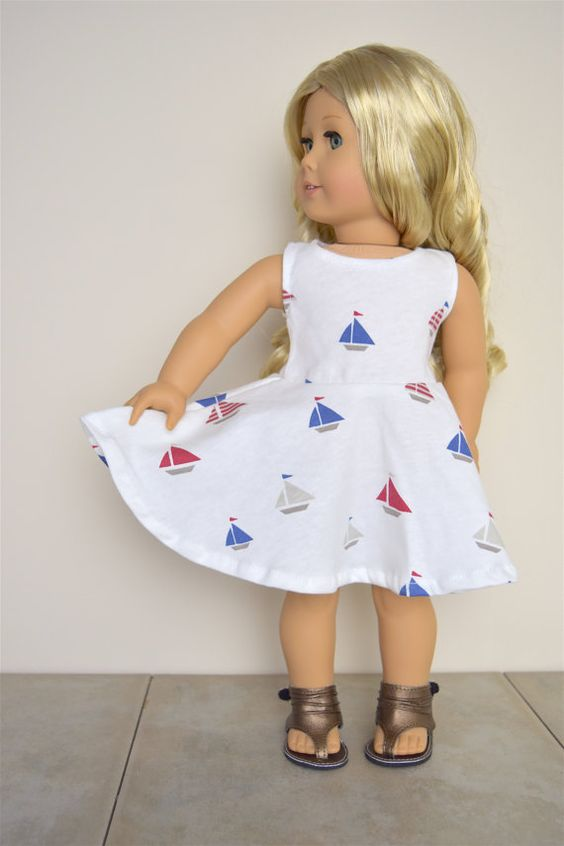 American Girl Doll dress Sail Boats by EliteDollWorld on Etsy