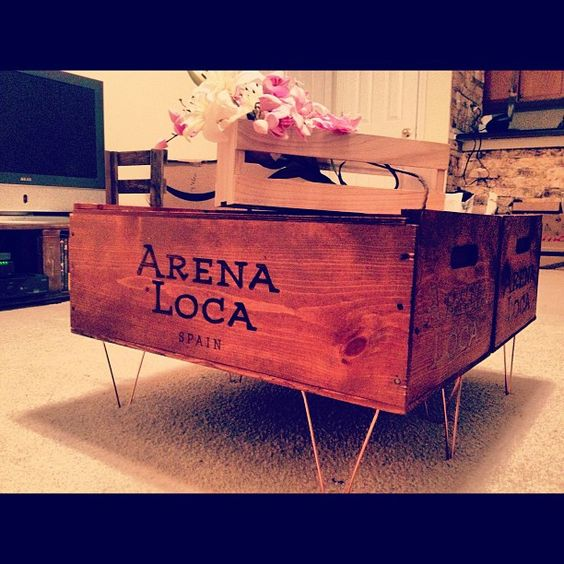 Wine crate coffee tables craft pinterest wine crate for Vintage wine crate coffee table